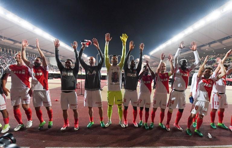 La joie des joueurs de l'AS Monaco (©YANN COATSALIOU - AFP)