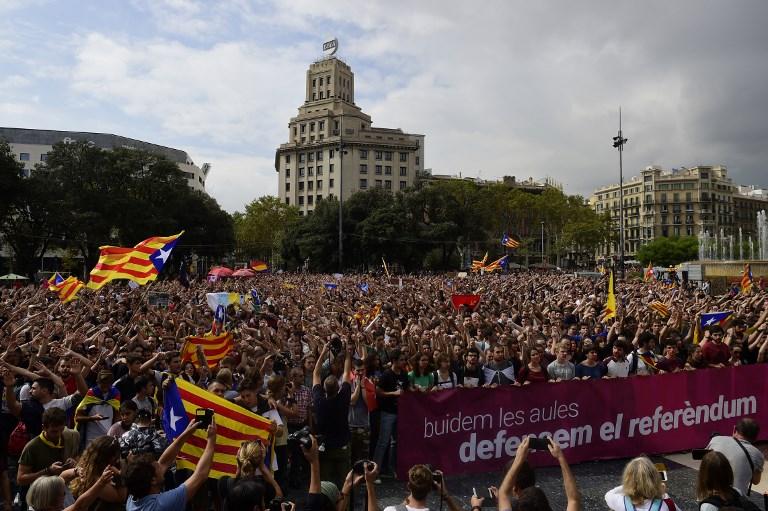 Manifestation de soutien au référendum indépendantiste à Barcelone, en octobre ©PIERRE-PHILIPPE MARCOU - AFP